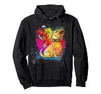Pixar Up Dug Watercolor Rainbow Graphic Shirts Hoodie Black