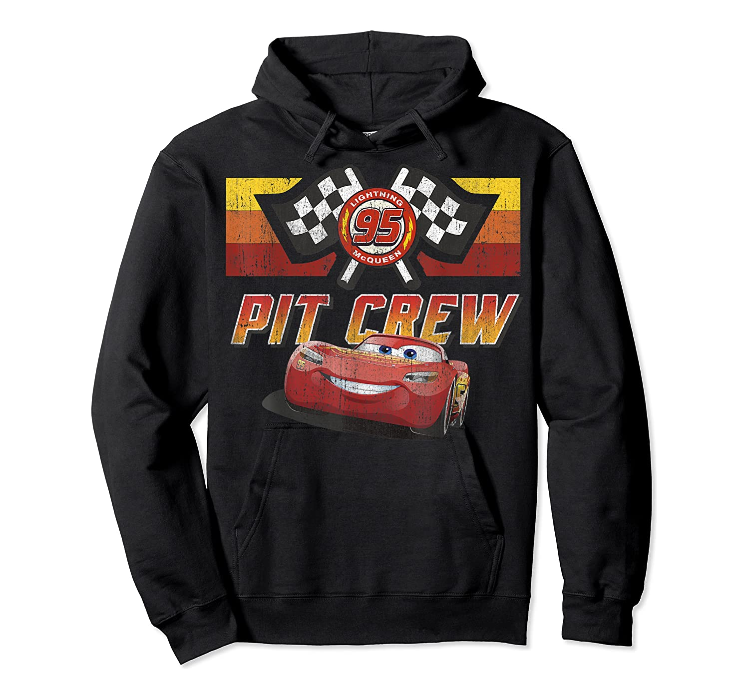 Disney Pixar Cars Mcqueen Pit Crew Red Distressed T-shirt T-shirt Unisex Pullover Hoodie