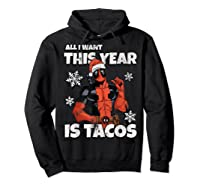 Deadpool Santa Hat I Want Tacos Christmas Shirts Hoodie Black
