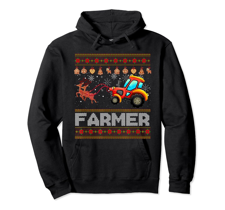 Tractors Farmer Christmas Funny Farming Xmas Gift Shirts Unisex Pullover Hoodie
