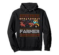 Tractors Farmer Christmas Funny Farming Xmas Gift Shirts Hoodie Black