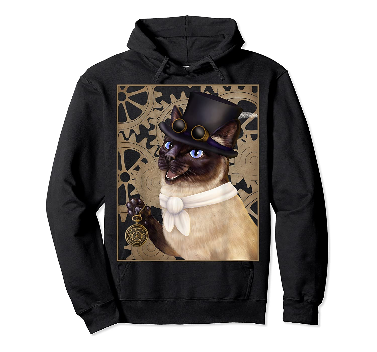 Steampunk Cat - Siamese With A Top Hat, Goggles, And Gears T-shirt Unisex Pullover Hoodie