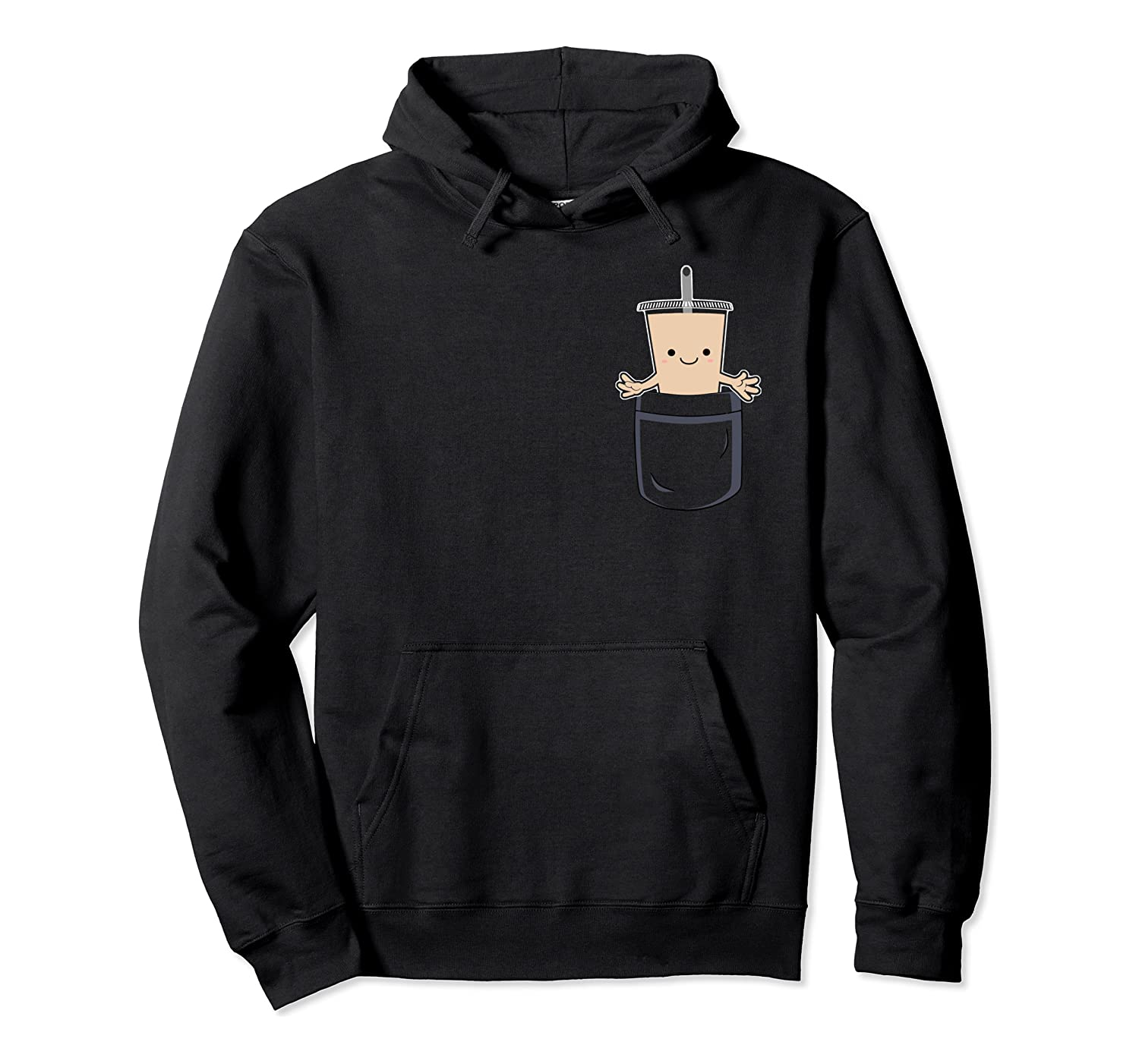 Cute Boba In Pocket Bubble Milk Tea Pouch Pullover Hoodie