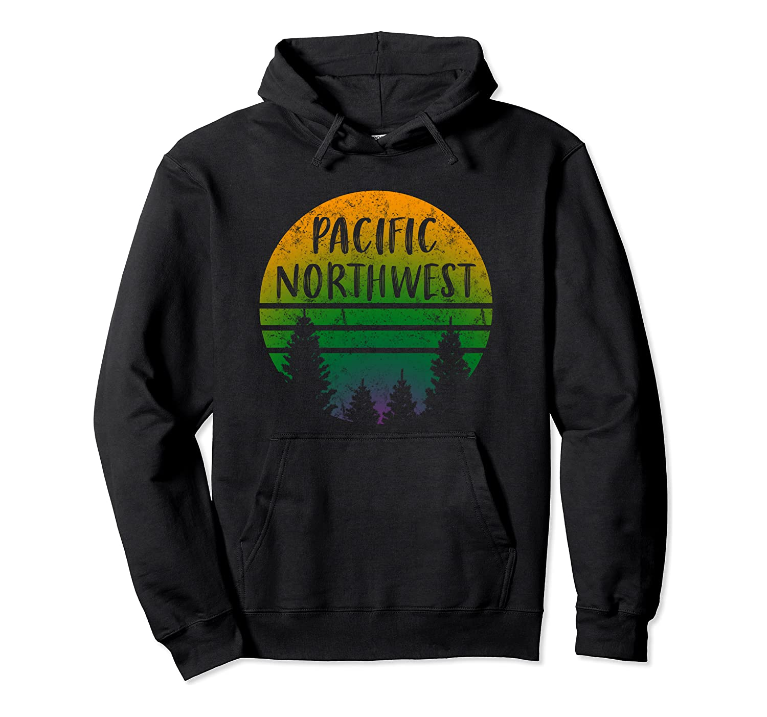 Pacific Northwest Trees Weathered Outdoor Nature-Lover Retro Pullover Hoodie
