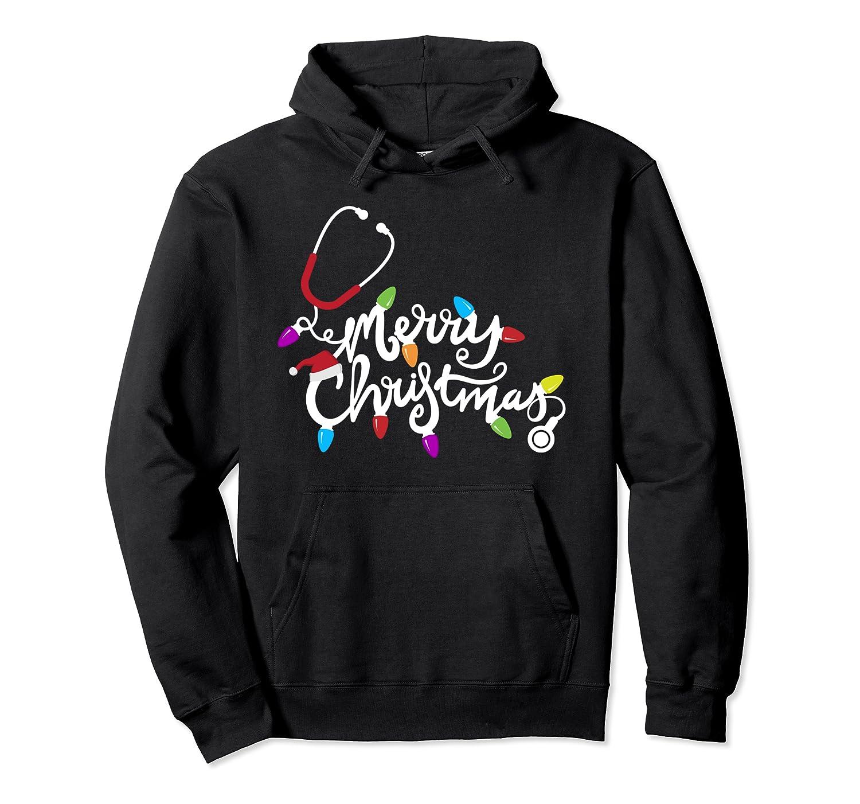 Nurse Stethoscope Merry Christmas Holiday Tree Lights Gift Pullover Hoodie