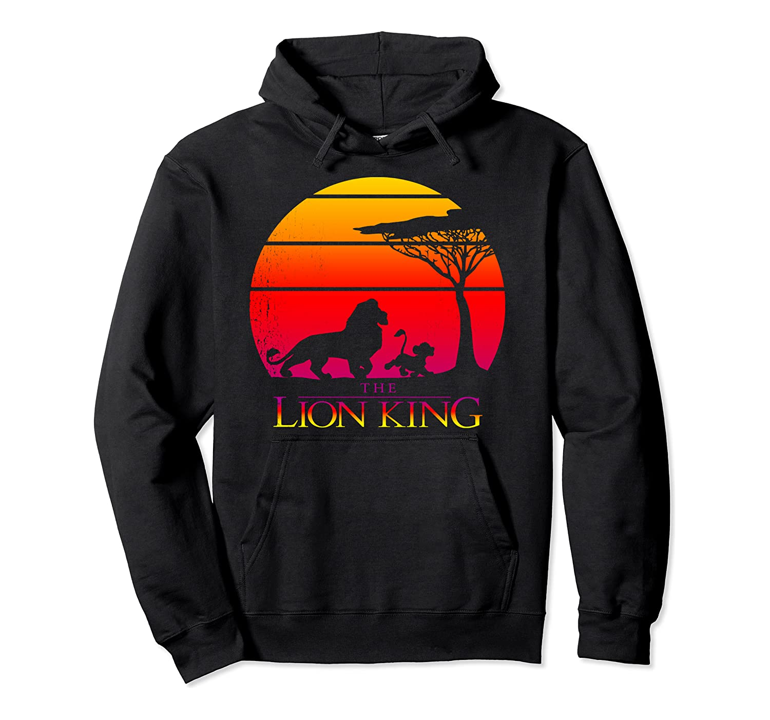 Amazon Com Disney Lion King Vintage Sunset Logo Graphic Hoodie Clothing