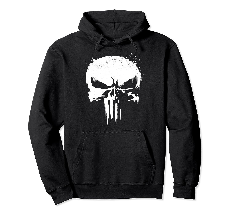 Marvel Punisher White Paint Splatter Skull Graphic Hoodie