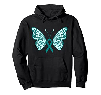 Amazon Com Ovarian Cancer Awareness Teal Ribbon Butterfly Wings Tattoo Pullover Hoodie Clothing
