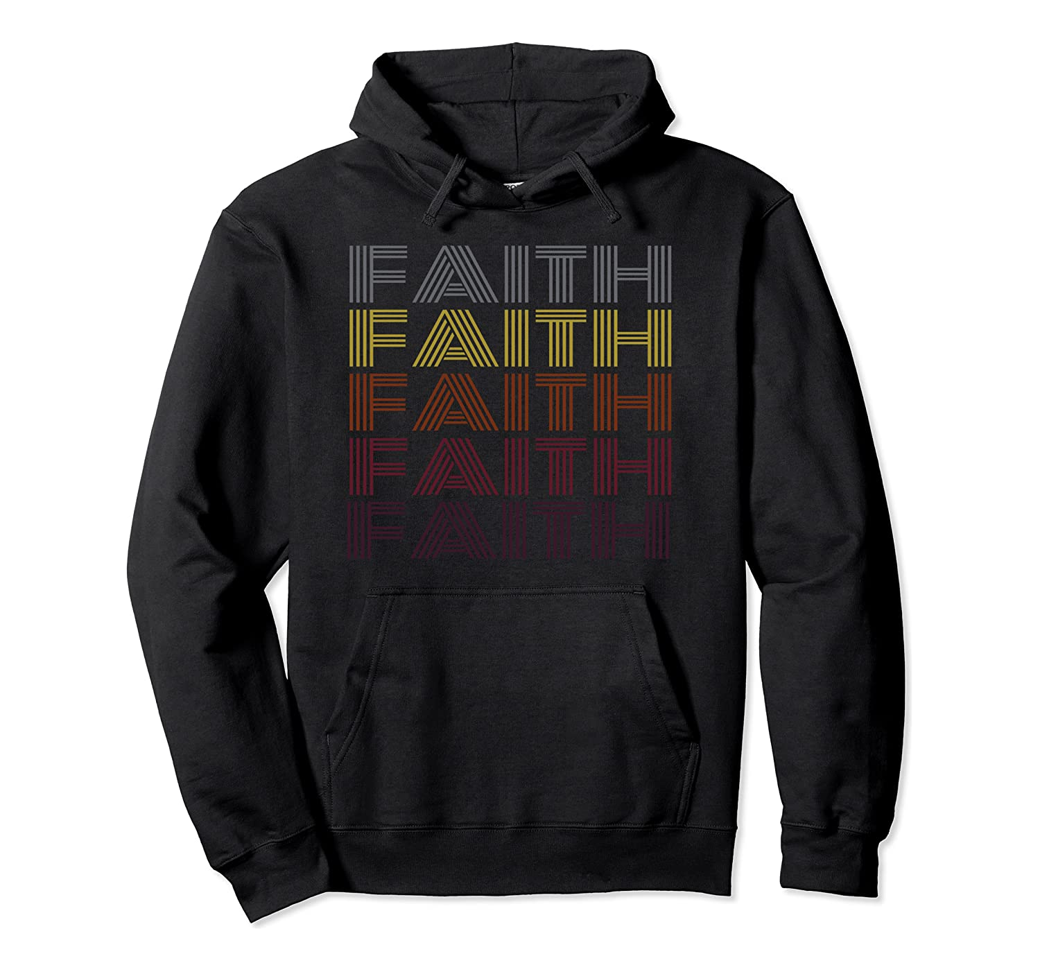 Graphic 365 First Name Faith Retro Pattern Vintage Style Pullover Hoodie