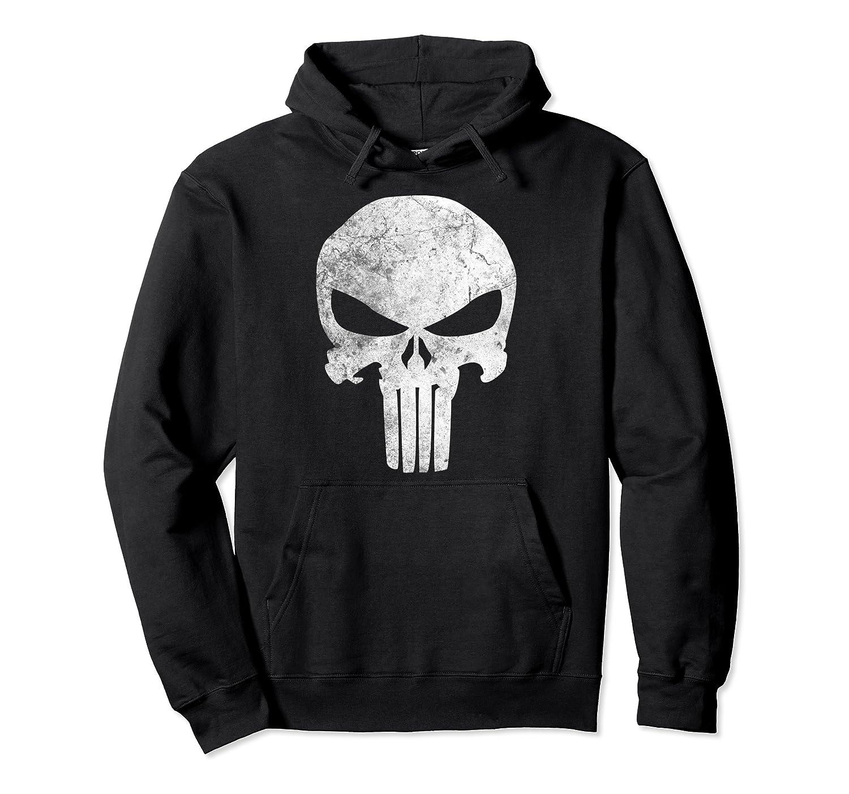 Marvel Punisher Skull Symbol Distressed Graphic Hoodie