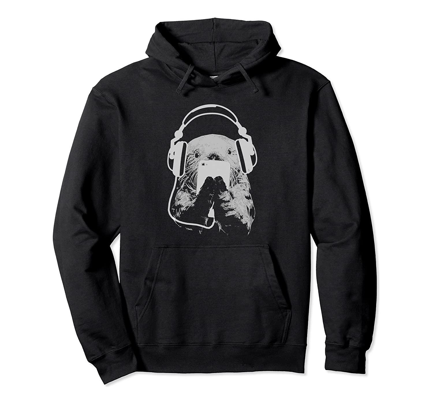 Sea Otter with Cell Phone and Headphones Hoodie