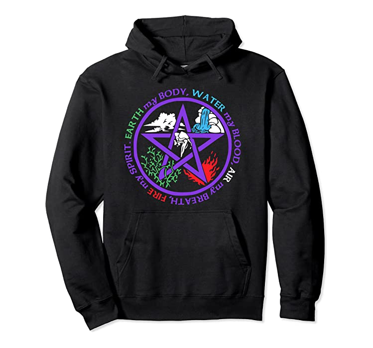 Amazon com: Earth Water Air Fire Hoodie for Wiccans Pagans and