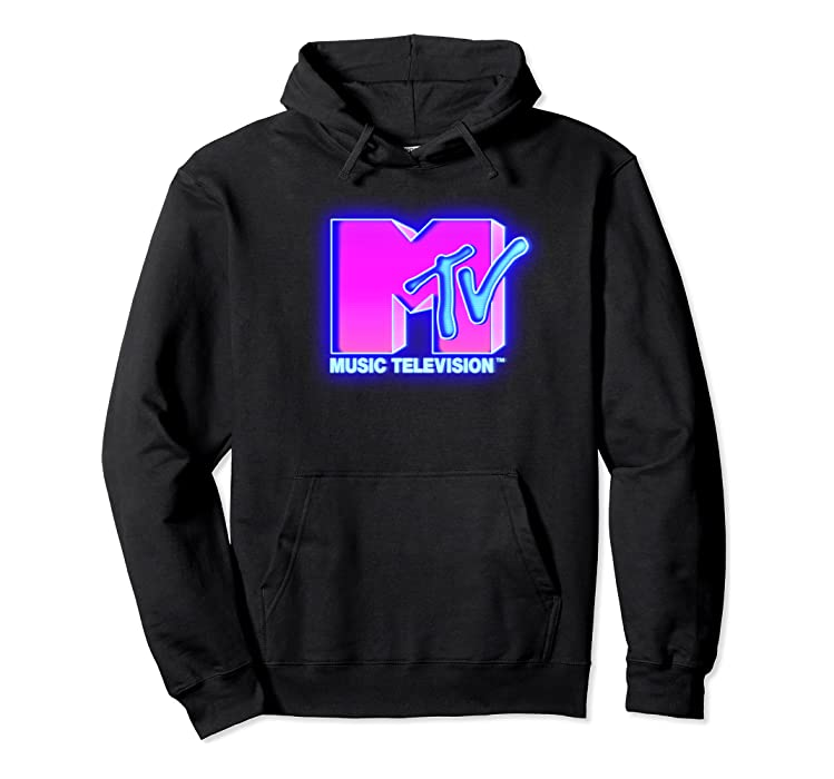 8d42941af0f Amazon.com: MTV Bright Neon Glow Logo Retro Graphic Hoodie: Clothing