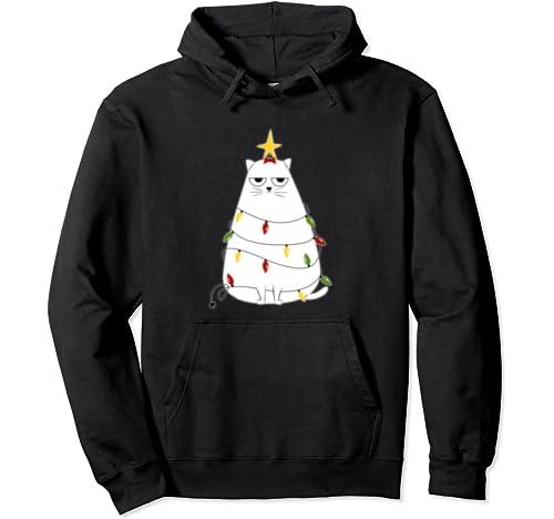 Grumpy Christmas Cat   Funny Cartoon Christmas Art Pullover Hoodie