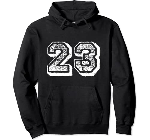 Number 23 Sports Jersey Player #23 Fan Front Print Vintage Pullover Hoodie