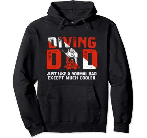 Diving Dad Diver Down Flag Scuba Diving Gift For Father Pullover Hoodie