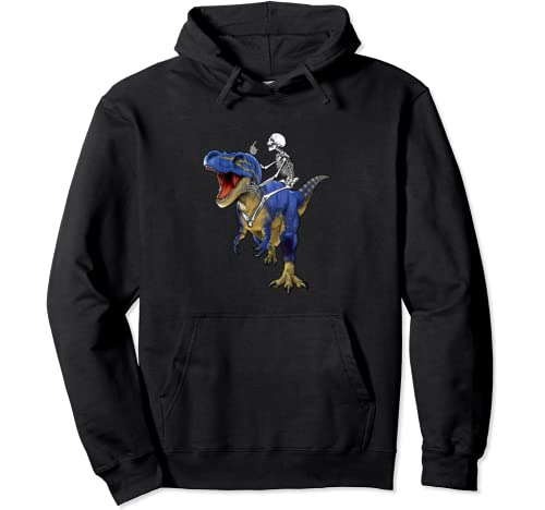 Skeleton Riding T Rex Dinosaur Funny Halloween Boys Kids Son Pullover Hoodie