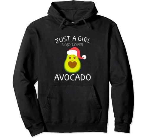 Cute Just A Girl Who Loves Avocado   Avocado Girls Christmas Pullover Hoodie