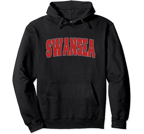 Swansea United Kingdom Varsity Style Vintage Retro Uk Sports Pullover Hoodie