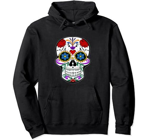 Dia De Los Muertos Sugar Skull Day Of The Dead Skull Mask Pullover Hoodie