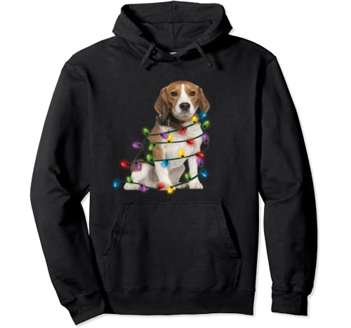 Beagle Christmas Light Shirt Funny Beagle Lover Christmas  Pullover Hoodie