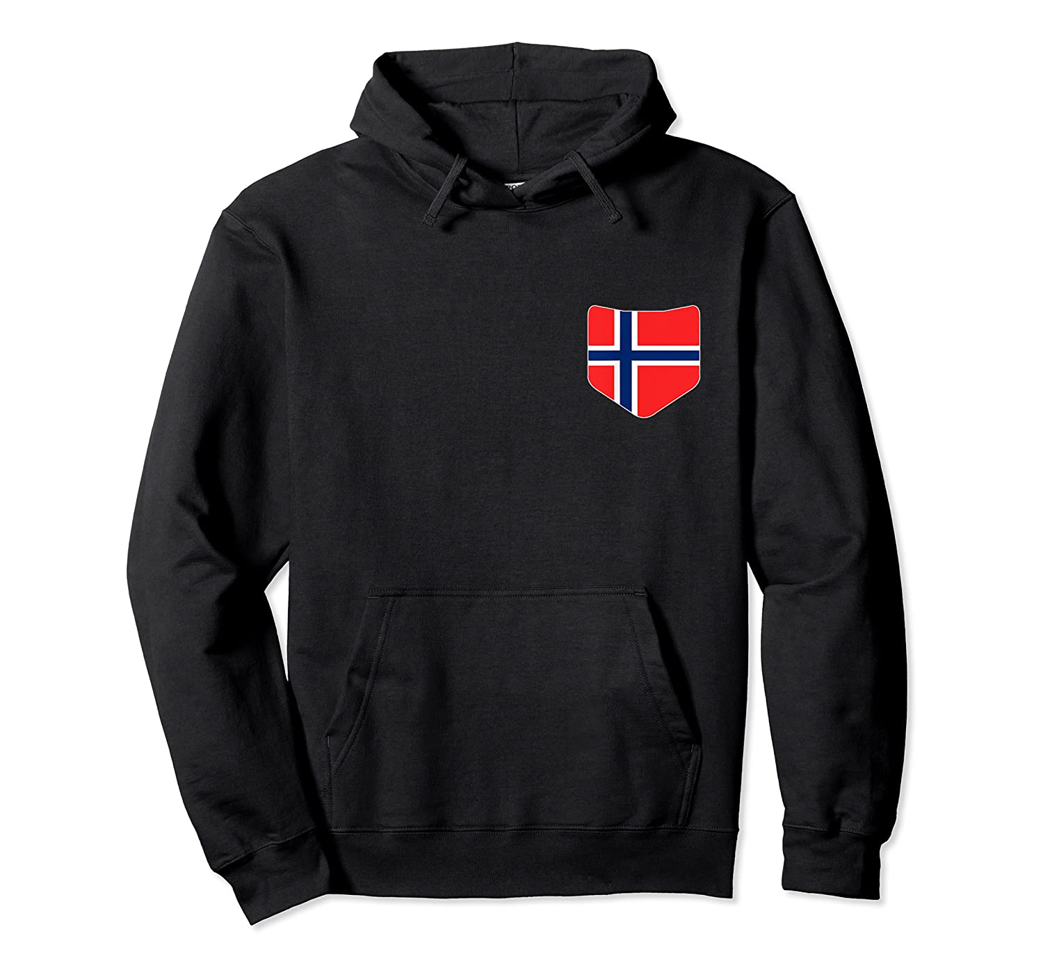 Norway Flag T Shirt With Printed Norwegian Flag Pocket Unisex Pullover Hoodie