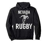 Nevada Rugby Player T-shirt Hoodie Black