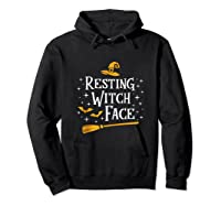 Resting Witch Face Shirt Broomstick Funny Spooky Party Tank Top Hoodie Black