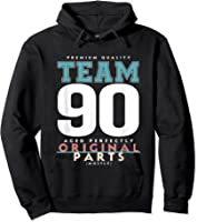 90th Birthday Funny Gift Team Age 90 Years Old T-shirt Hoodie Black