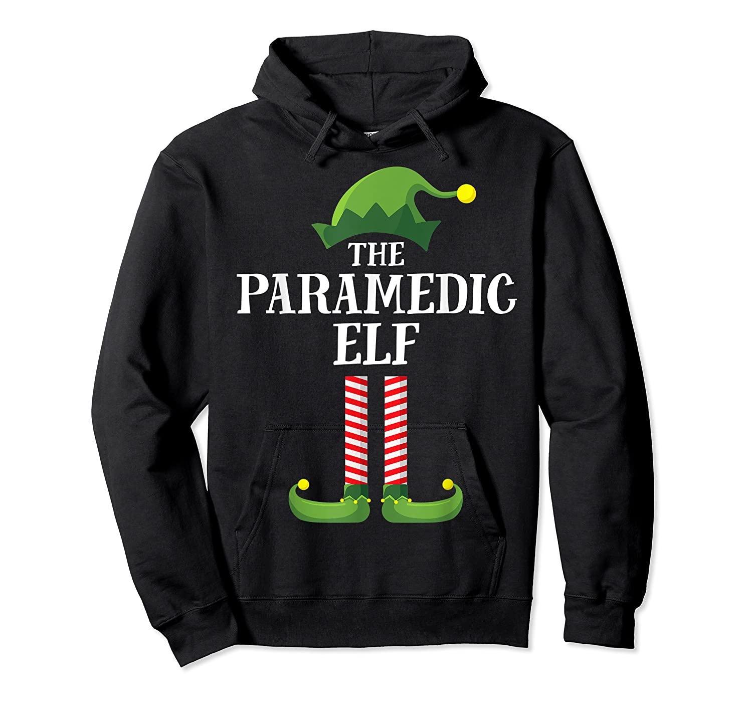 Paramedic Elf Matching Family Group Christmas Party Pajama Shirts Unisex Pullover Hoodie