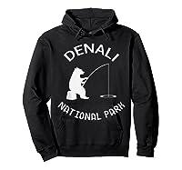 Alaska Denali National Park Bear Fishing Silhouette T-shirt Hoodie Black