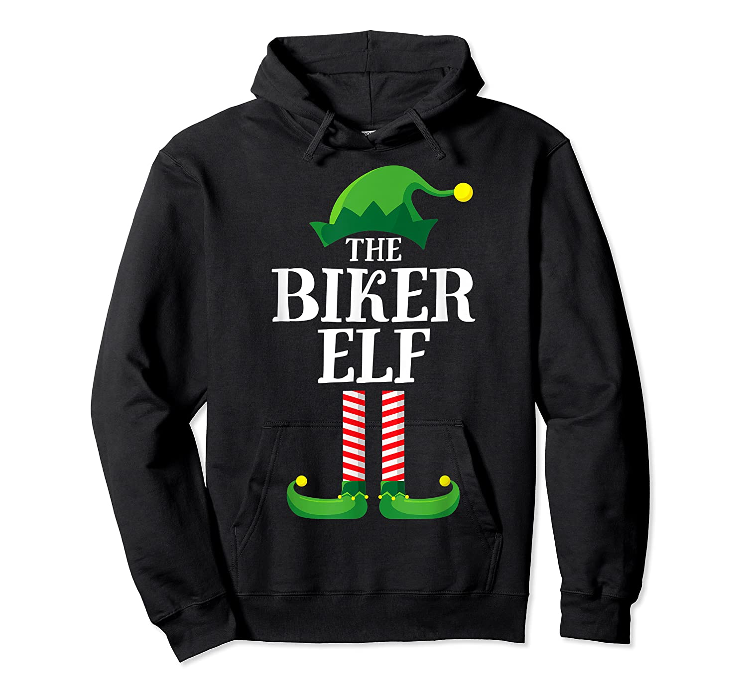 Biker Elf Matching Family Group Christmas Party Pajama T-shirt Unisex Pullover Hoodie