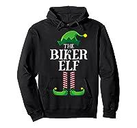 Biker Elf Matching Family Group Christmas Party Pajama T-shirt Hoodie Black