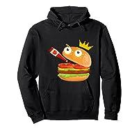 King Hamburger Drinking Tomato Sauce Funny Cartoon Tshirt Hoodie Black