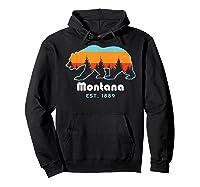 Montana 1889 Wilderness Mountain Wildlife Bear Tshirt Hoodie Black