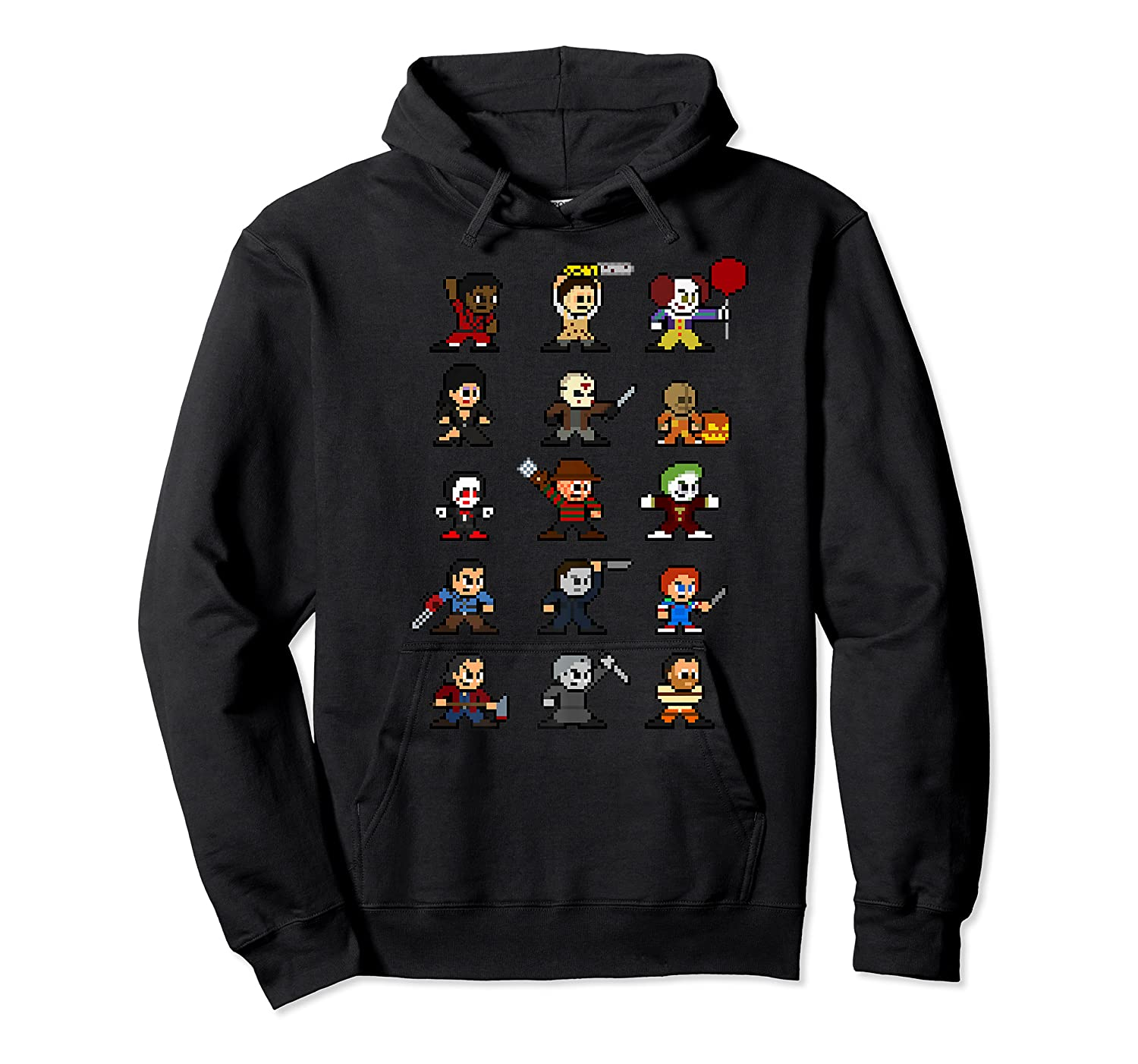 Friends Pixel Halloween Icons Scary Horror Movies Premium T Shirt Unisex Pullover Hoodie