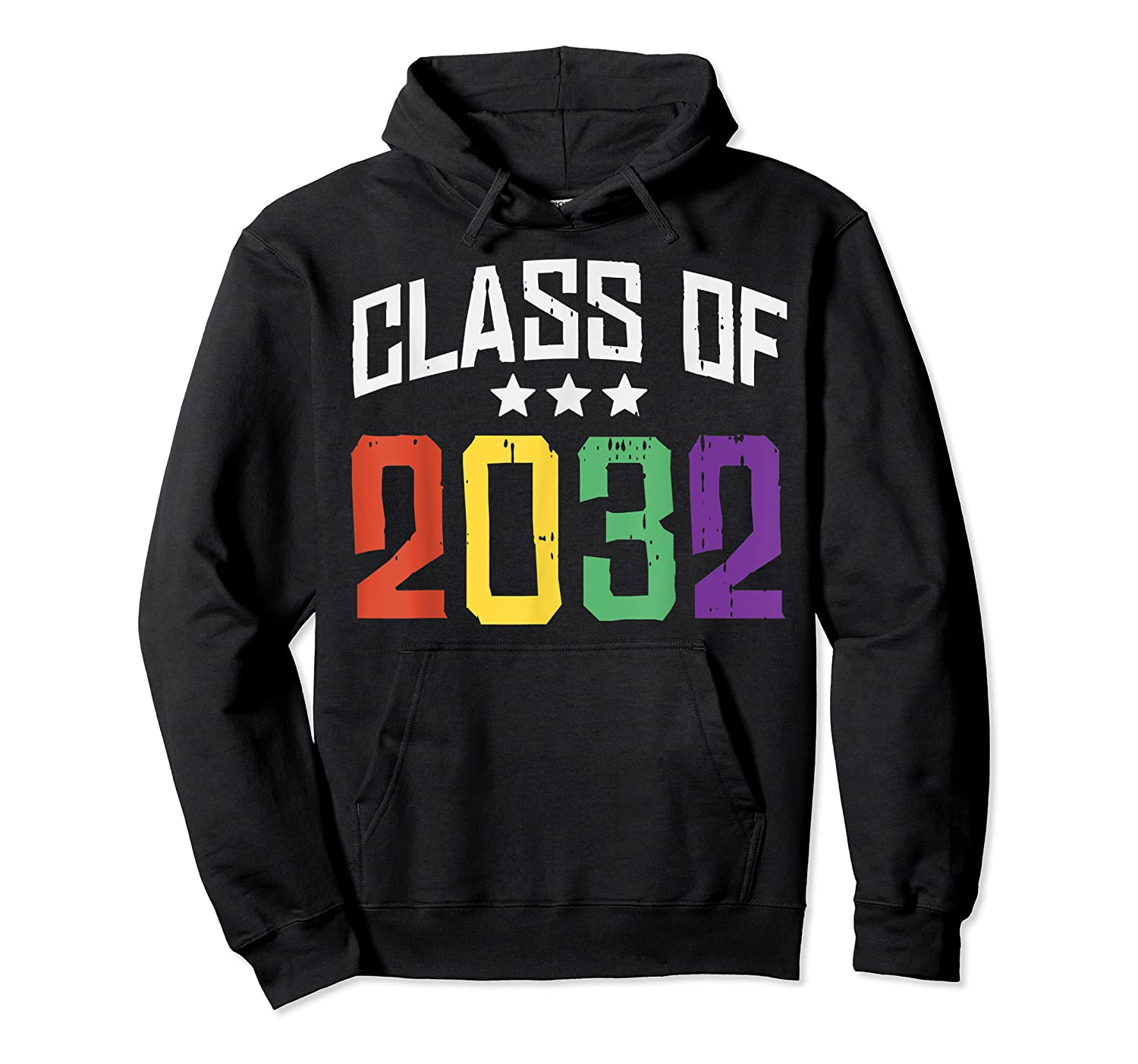 Class Of 2032 Color Stars Grow With Me Kindergarten Gift Shirts Unisex Pullover Hoodie