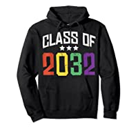 Class Of 2032 Color Stars Grow With Me Kindergarten Gift Shirts Hoodie Black
