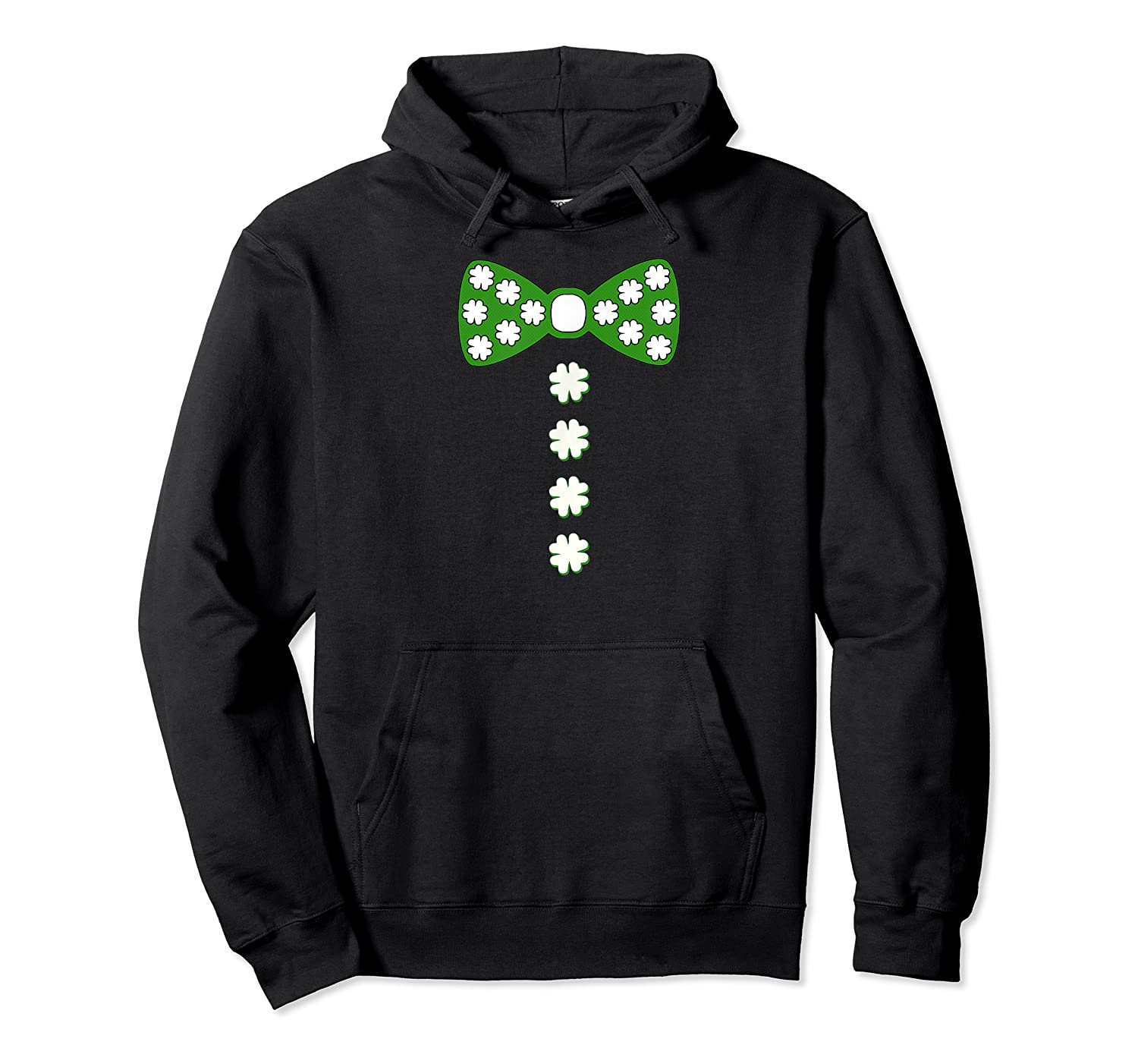 St Patricks Day Bow Tie Shamrock Clover Buttons Tshirt Unisex Pullover Hoodie