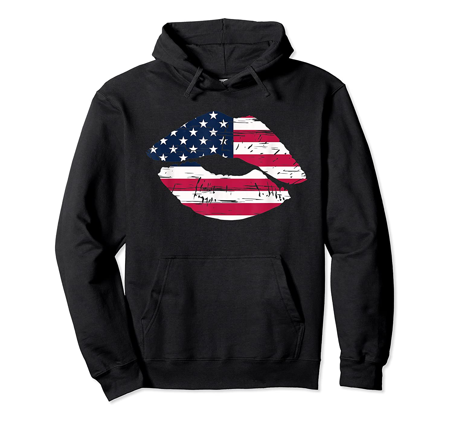 Cool Lips With American Flag Girl 4th Of July Gift Shirts Unisex Pullover Hoodie