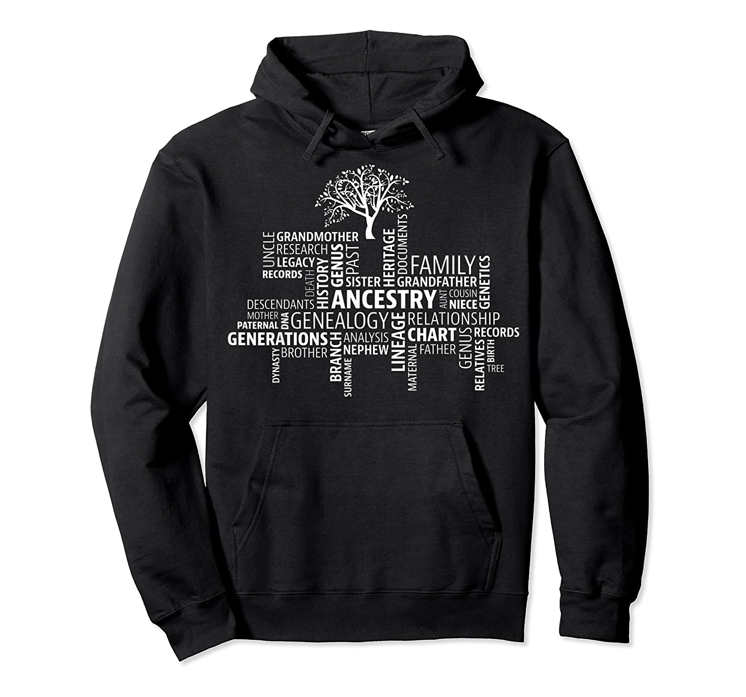 Genealogy Ancestry Word Cloud Research Your Family Shirts Unisex Pullover Hoodie