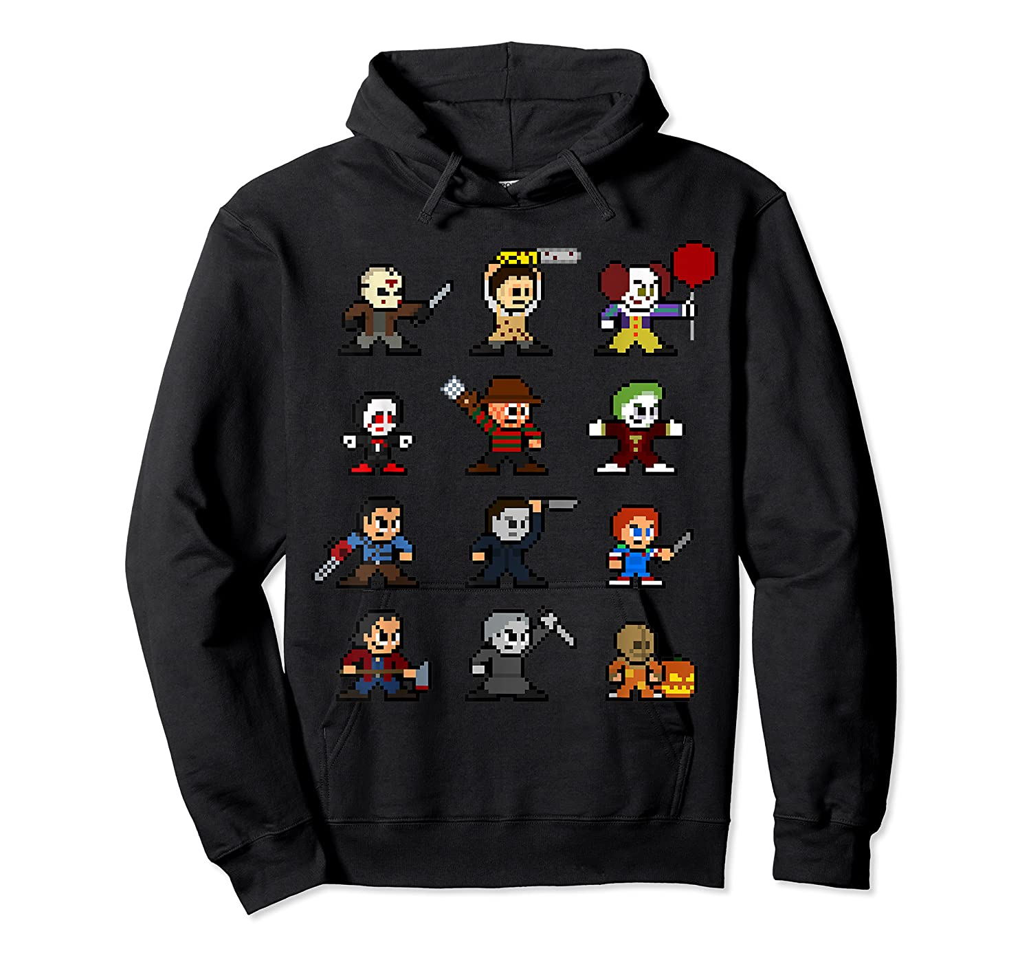 Friends Pixel Halloween Icons Scary Horror Movies T Shirt Unisex Pullover Hoodie