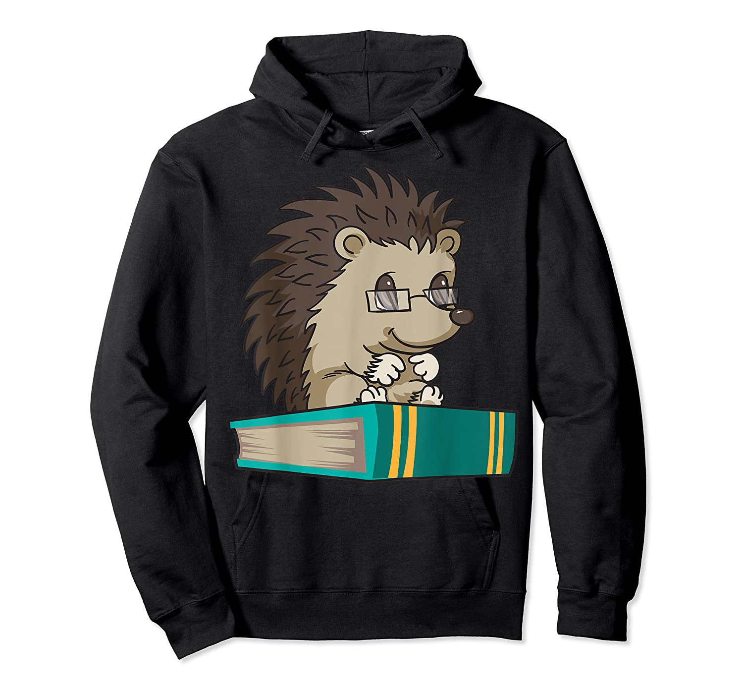 Cute Unique Bookworm Reading Hedgehog Gift Shirts Unisex Pullover Hoodie