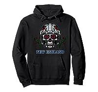 New England Football Helmet Sugar Skull Day Of The Dead Shirts Hoodie Black