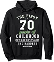 70th Birthday Funny Gift Life Begins At Age 70 Years Old T-shirt Hoodie Black