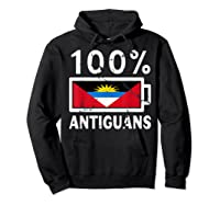 Antigua Barbuda Flag Shirt 100 Antiguans Battery Power Hoodie Black