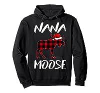 Nana Moose Matching Family Christmas Plaid Red Pajama Gift Shirts Hoodie Black