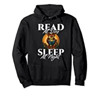 Sleep All Day Read All Night Bookish Read A Book Day Owl Premium T Shirt Hoodie Black