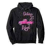 October Breast Cancer Awareness Month Pumpkin Vintage Truck Premium T Shirt Hoodie Black