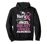 My Hero Is Now My Angel Breast Cancer Awareness Tshirt Gifts T Shirt Hoodie Black